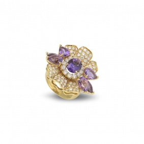 Yellow Gold Amethyst and Diamond Dress Ring